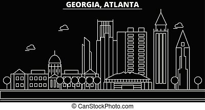 Atlanta silhouette skyline. USA - Atlanta vector city, american linear architecture, buildings. Atlanta travel illustration, outline landmarks. USA flat icon, american line banner