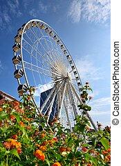 Atlanta Skyline and Ferris Wheel - ATLANAT - AUGUST 25: ...