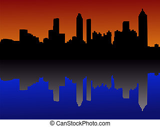 Atlanta Skyline at sunset - Atlanta Skyline reflected at...