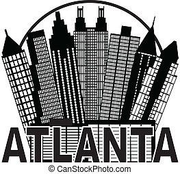 Atlanta Skyline Circle Black and White Illustration -...