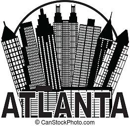 atlanta, skyline, cirkel, sorte hvide, illustration