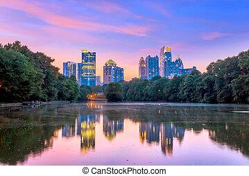 Atlanta  Skyline from Piedmont Park's Lake Meer.