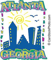 Atlanta Skyline - graphic design of atlanta skyline from...