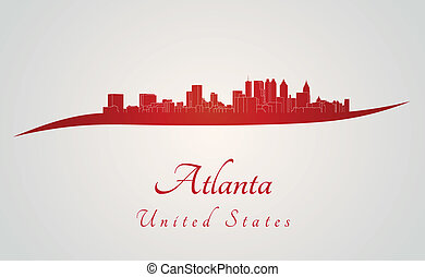 Atlanta skyline in red and gray background in editable...