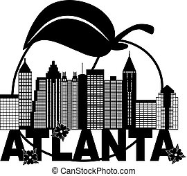 Atlanta Skyline Peach Dogwood Black White Text Illustration...