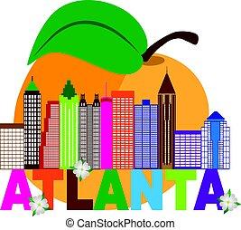 Atlanta Skyline Peach Dogwood Colorful Text Illustration