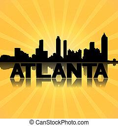 Atlanta skyline reflected with sunburst illustration