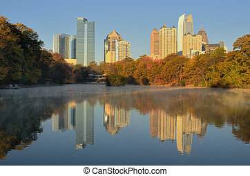 Atlanta Skyline Reflections - Skyline from Piedmont Park in...