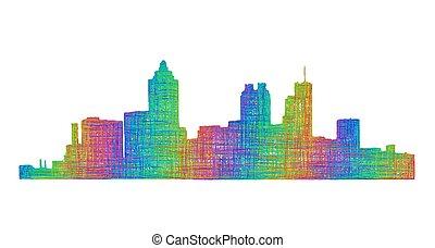 Atlanta skyline silhouette - multicolor line art