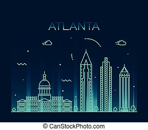 Atlanta skyline detailed silhouette Trendy vector illustration linear style