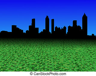 Atlanta skyline with abstract dollar currency foreground illustration