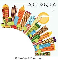 Atlanta Skyline with Color Buildings, Blue Sky and Copy Space.