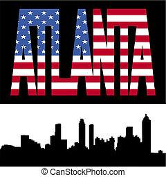 Atlanta skyline with flag text - Atlanta skyline with...