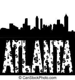 Atlanta skyline with grunge text - Atlanta skyline with...