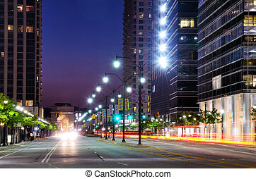 Cityscape along 17th Street in Atlanta, Georgia, USA