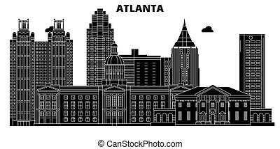 Atlanta, United States, vector skyline, travel illustration, landmarks, sights.