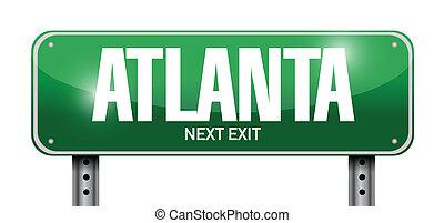 atlanta, utca, tervezés, ábra, aláír