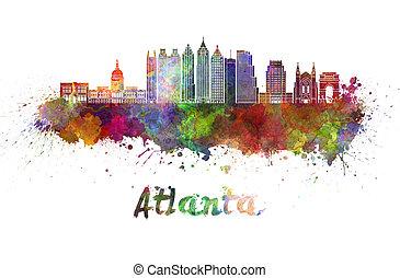 Atlanta V2 skyline in watercolor - Atlanta skyline in...