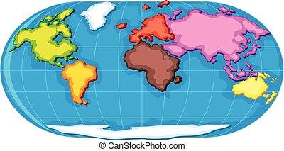 atlante, mondo, sette, continenti