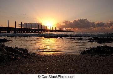 atlanten, soluppgång, ocean