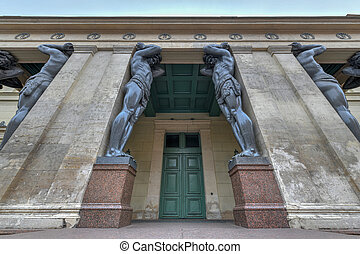 Portico With Atlantes, New Hermitage in St. Petersburg Russia.