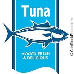 Atlantic bluefin tuna fish icon for seafood design