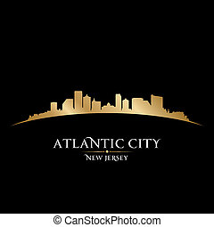 Atlantic city New Jersey skyline silhouette black background...
