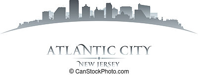 Atlantic city New Jersey skyline silhouette white background...