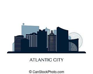 Atlantic city skyline, monochrome silhouette.