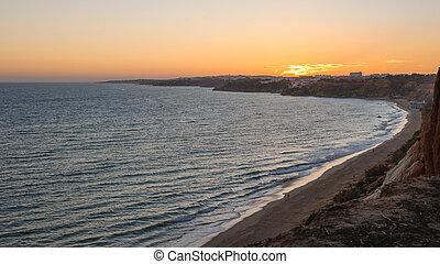 Atlantic coastline in Portugal at dusk