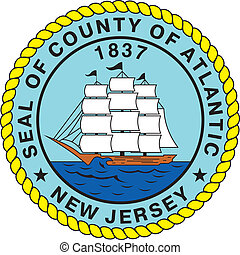 Atlantic county seal - Various vector flags, state symbols, ...