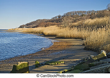 Atlantic Highlands Shoreline - A coastline view of the...