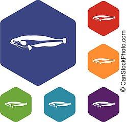 Atlantic mackerel, Scomber scombrus icons set