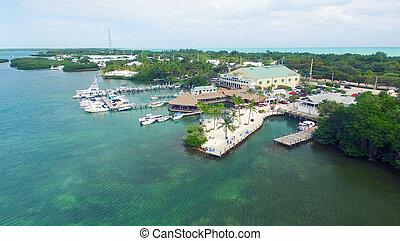 Atlantic Ocean aerial view near Islamorada, Florida Keys