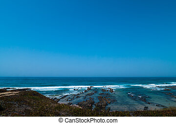 Atlantic ocean and beach in Portugal - A view of the...