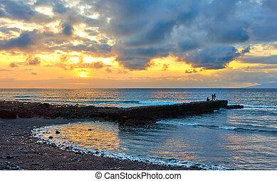 Atlantic ocean at sunset inTenerife