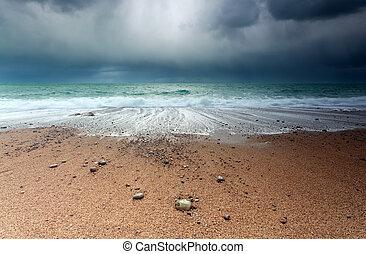 Atlantic ocean coast at storm