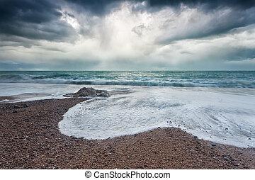 Atlantic ocean coast during storm