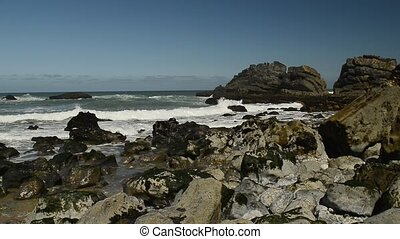 Atlantic ocean coast (granite boulders and sea cliffs),...