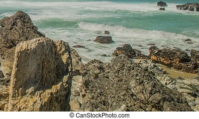 Atlantic ocean coast (granite boulders and sea cliffs), Portugal.