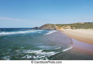 Atlantic ocean coast landscape near Amoreira beach