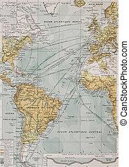 Atlantic ocean old map. By Paul Vidal de Lablache, Atlas...