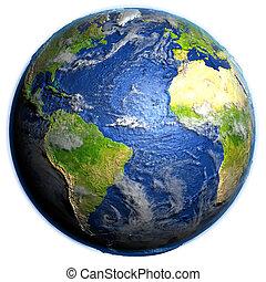 Atlantic Ocean on Earth - visible ocean floor