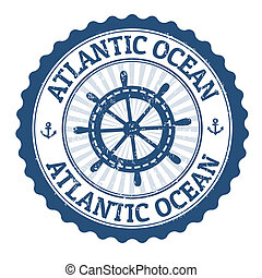 Atlantic Ocean stamp - Grunge rubber stamp with the text...