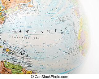 Atlantic Ocean - Close up of a globe, focused on Atlantic...