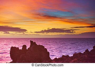 Atlantic ocean sundown seascape