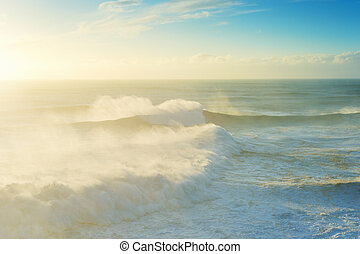 Atlantic ocean sunset Portugal waves