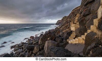 Atlantic ocean time lapse, volcanic coast - Azores coast in...
