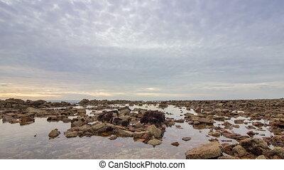 Atlantic Ocean view at Dar Bouazza - 4K Dusk Pan (Left) Time...