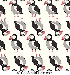 Atlantic puffin seamless pattern. Fabric background, apparel, linen, wrapping